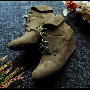 Olive Ankle Boot Wedges